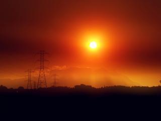 火災の夕日