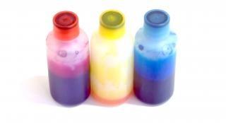 Голубой, пурпурный и желтый, голубой