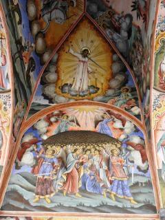 リラ修道院で中世のフレスコ画。