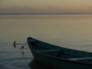 川辺でボート