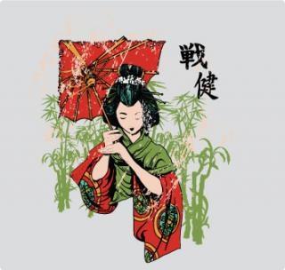 Японский футболку дизайн