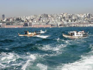 ボスポラス海峡では漁船。