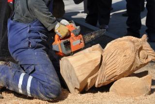 チェーンソーと木製のフクロウ