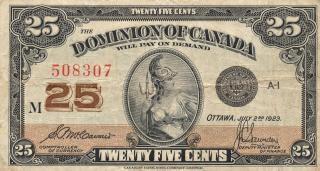 カナダのビンテージ紙幣ドミニオン着用
