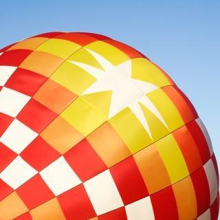 熱気球は、長方形のクローズアップ
