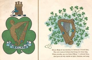 Антикварный ирландии арфа открытки