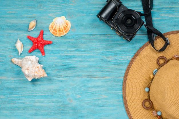 貝殻や青色の背景にアクセサリー