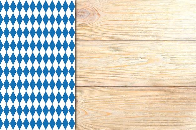 オクトーバーフェストのテーブルクロスと木製の板