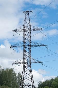 高電圧柱とワイヤー