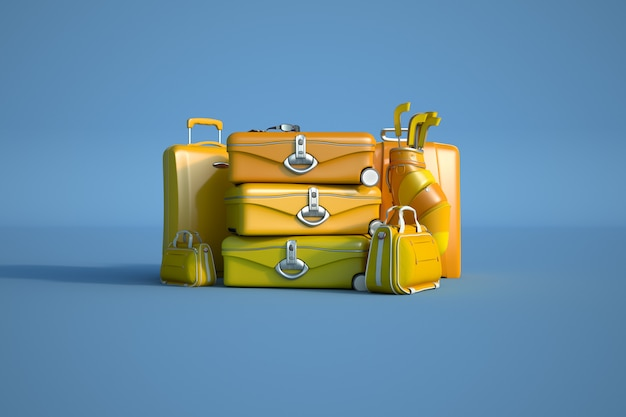 Желтый багаж на синем фоне