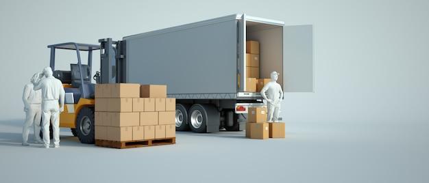 倉庫にトラックを積む