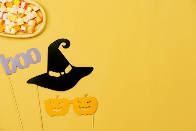 装飾ハッピーハロウィン日背景のテーブルトップビュー空中画像