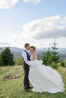 新郎新婦。山の風景の中の結婚式のフォトセッション。