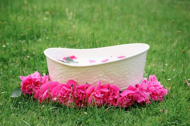 Детская ванночка и пион цветы. розовые пионы.