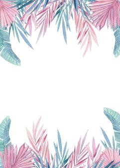 ピンクとブルーの熱帯の葉の水彩画の花輪。ジャングル、植物の水彩イラスト、花の要素、ヤシの葉、シダなどの手描きのフレーム。