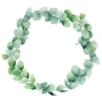 ユーカリの枝の水彩画の花輪。手描きの枝を持つビンテージフレーム。伝統的な常緑のフレーム。緑の花輪。