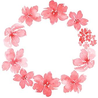 水彩花と花輪の水彩イラスト