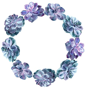 多肉植物のデザインの手描き水彩要素と花輪