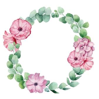 花とユーカリの水彩画フレーム。