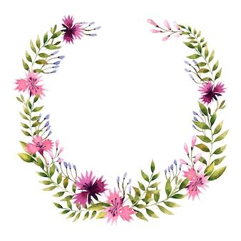 水彩イラスト。野生の花の花輪。
