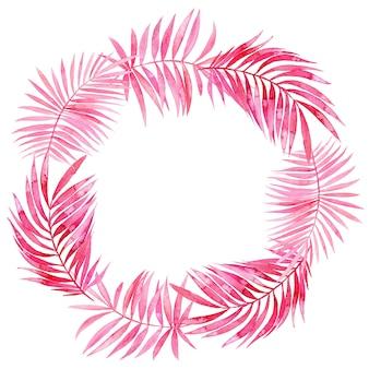 ピンクの熱帯の葉の水彩画の花輪
