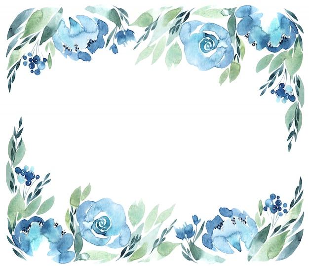 花の水彩画フレーム、白で隔離されます。