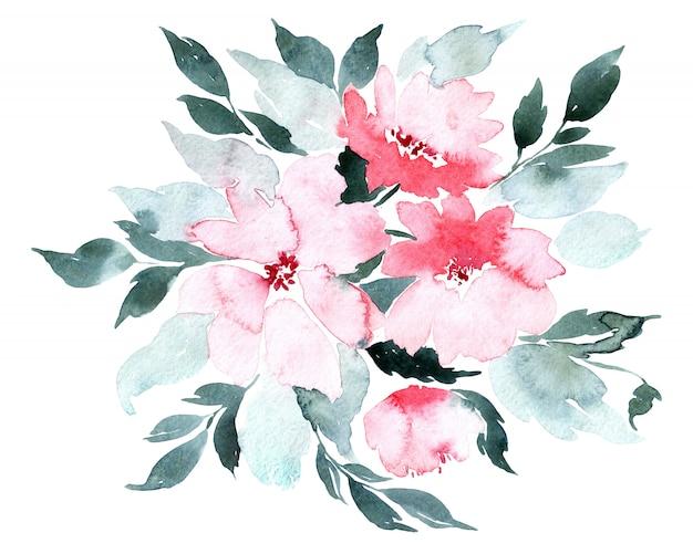 Цветы акварельные иллюстрации, изолированных на белом