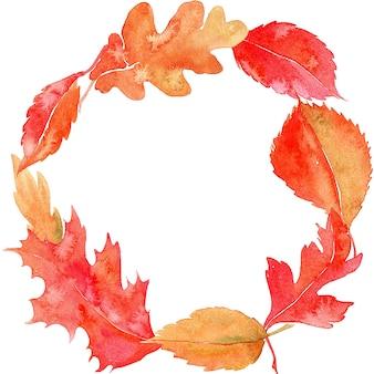 葉と水彩の花輪。