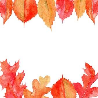 葉と水彩のフレーム。