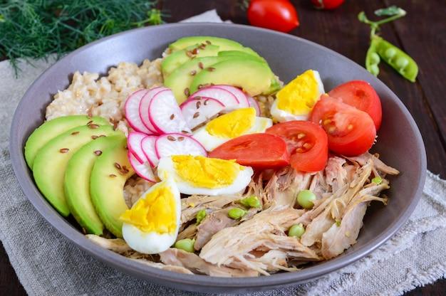 Полезный завтрак: овсяная каша с мясом кролика, авокадо, вареное яйцо, помидоры, редька, зеленый горошек, семена льна. правильное питание.