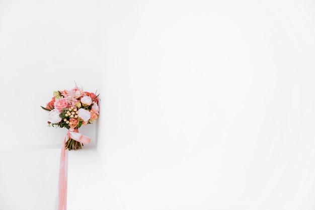 結婚式の花、ブライダルブーケのクローズアップ。