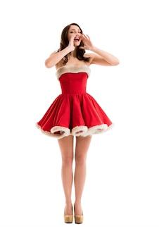 セクシーな女の子は、サンタクロースの服を着て