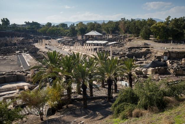 考古学的なサイト、ベアシーアン国立公園、ハイファ地区、イスラエルの眺め