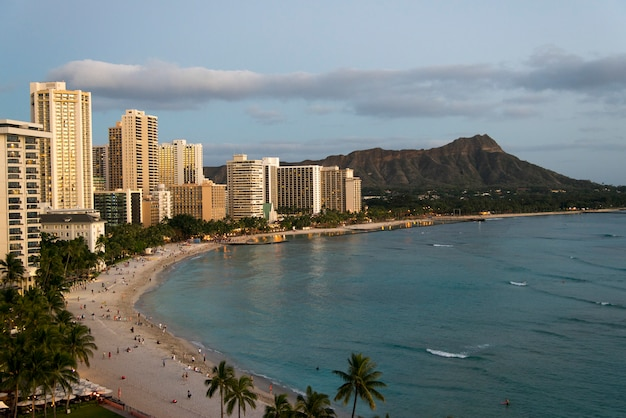 ビーチフロント沿いの建物、ワイキキ、ホノルル、オアフ、ハワイ、米国