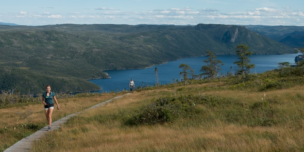 ルックアウトトレイル、ルックアウトヒルズ、ボンベイ、グロス・モーン国立公園、ニューファンドランドアンドラブラドのハイカー