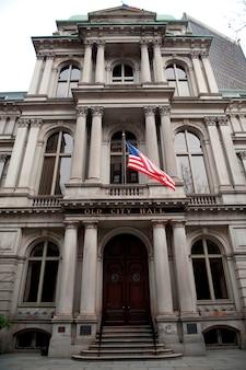 ボストン、ボストン、マサチューセッツ、アメリカのボストン市庁舎の正面図