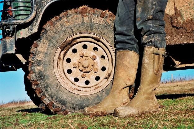 泥のブーツ。