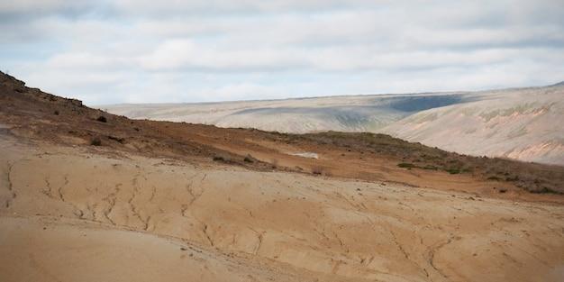 カラフルな不毛の火山灰の斜面