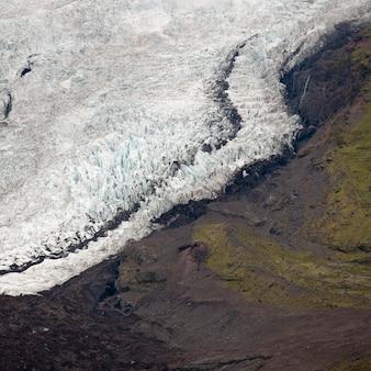 山の横の氷河とモレーン