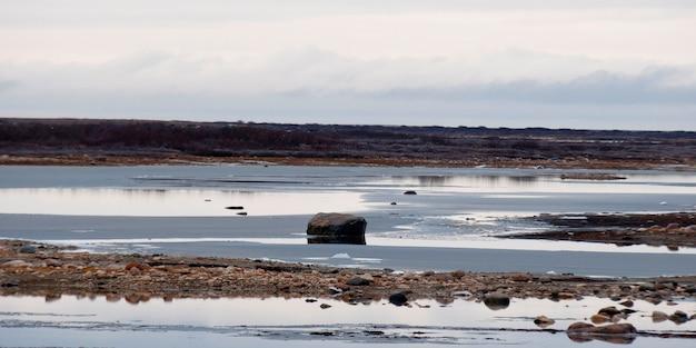 凍ったトンドラの風景、チャーチル、マニトバ州、カナダ