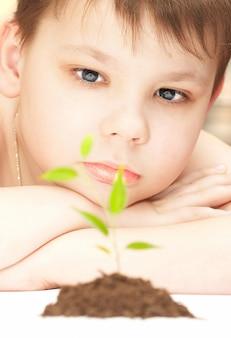 Мальчик наблюдает за выращиванием молодого растения.
