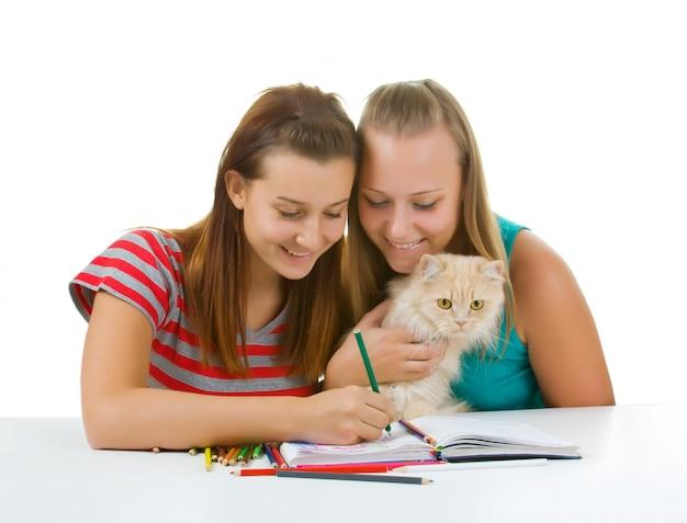 Две девочки-подростки и кошачья краска на белом