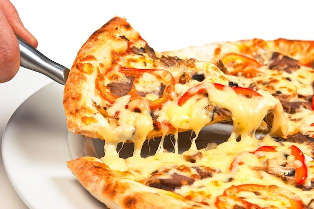 分離されたピザのスライス
