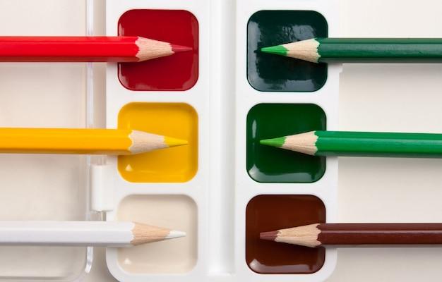 Цветные карандаши и акварельные краски