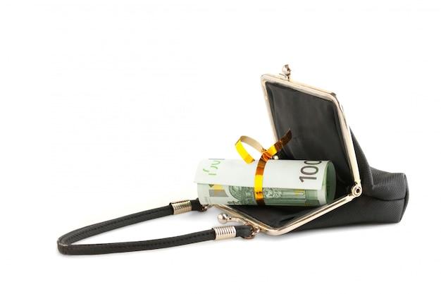 白で隔離あなたの財布にツイスト紙幣