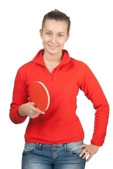 白で隔離されるラケットピンポンを持つ少女
