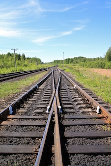 Железная дорога с голубым небом
