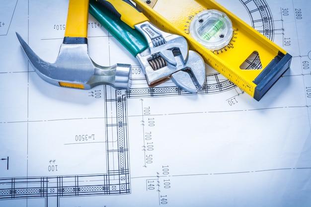 クローハンマー調整可能なスパナ建設レベルの青写真メンテナンスコンセプト