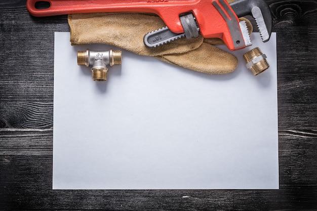 パイプレンチ銅配管金具革保護手袋ホワイトペーパー
