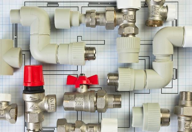 図面に配管継手を設定する